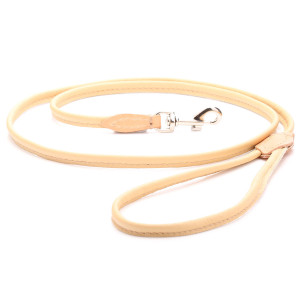 Beige Rolled Leather Dog Lead