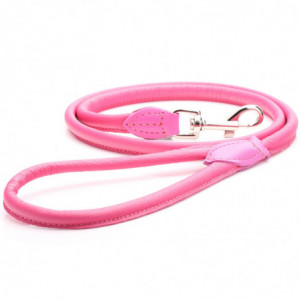 Pink Rolled Leather Dog Lead