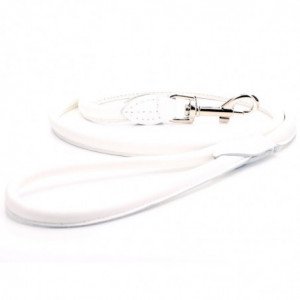 White Rolled Leather Dog Lead