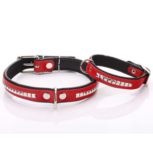 Red Leather Dog Collar with...