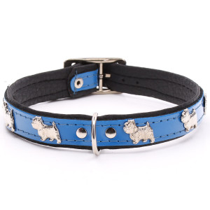 Blue Leather Westie Collar