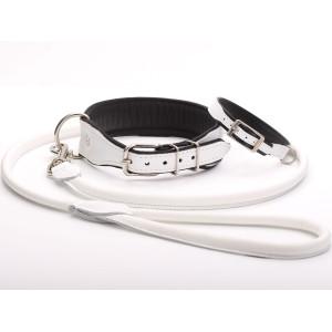 Handmade White Leather Dog...