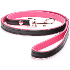Black & Pink Padded Leather...