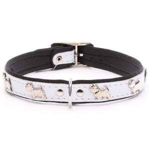 White Leather Westie Collar