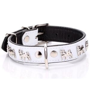 White Leather Pug Collar