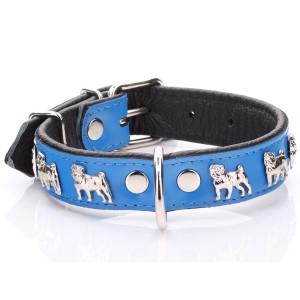 Blue Leather Pug Collar