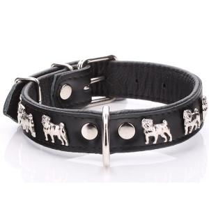 Black Leather Pug Collar