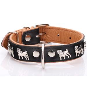 Black & Tan Leather Pug Collar