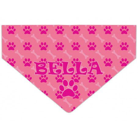 Personalised Pink Paw Amp Bone Pattern Dog Bandana
