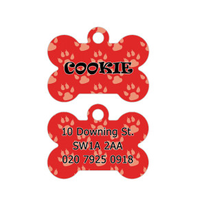 Red Paw Pattern Dog Tag