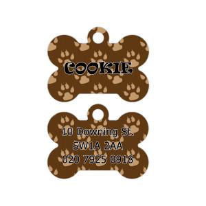 Brown Paw Pattern Dog Tag