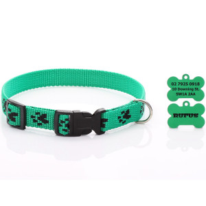 Green Paw Print Dog Collar...