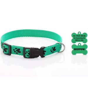 Green Paw Print Dog Collar...
