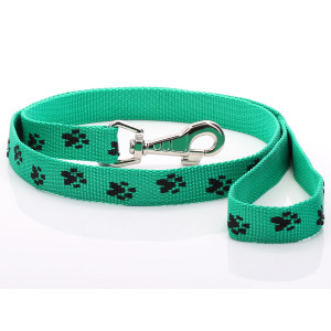 Green Paw Print Dog Lead