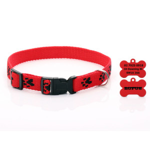 Red Paw Print Dog Collar...