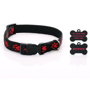 Black Paw Print Dog Collar...