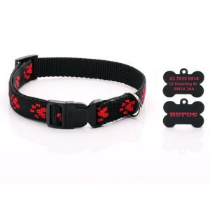 Black Paw Print Dog Collar...