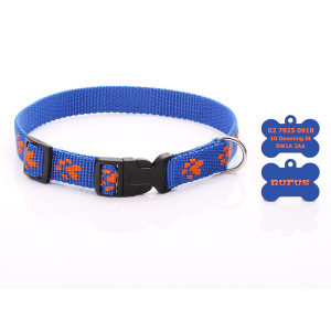 Blue Paw Print Dog Collar...