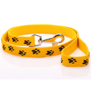 Yellow Paw Print Dog Lead