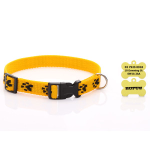 Yellow Paw Print Dog Collar...