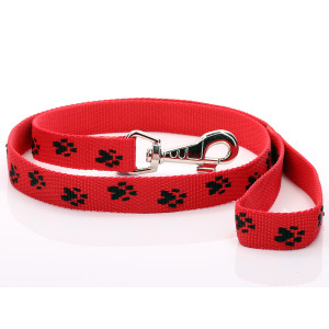 Red Paw Print Dog Lead