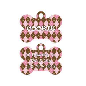 Pink Argyle Printed Dog Tag