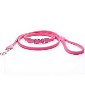 Roze Rolde Lederen Halsband...