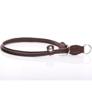 Brown Round Leather Slip...