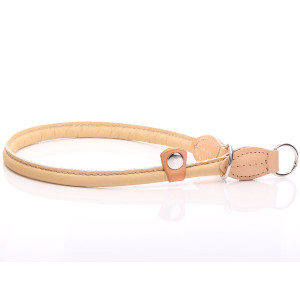 Beige Round Leather Slip...