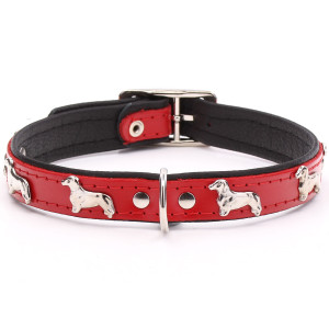 Red Leather Dachshund Collar
