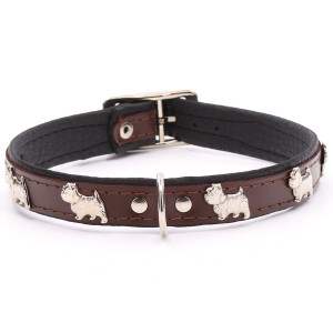 Brown Leather Westie Collar