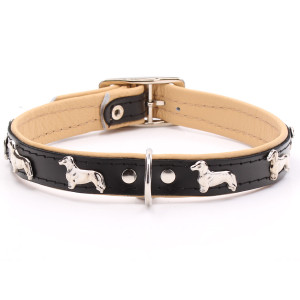 Black Leather Dachshund Collar