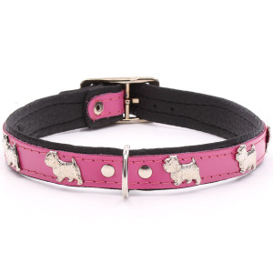 Pink Leather Westie Collar