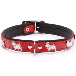 Red Leather Westie Collar