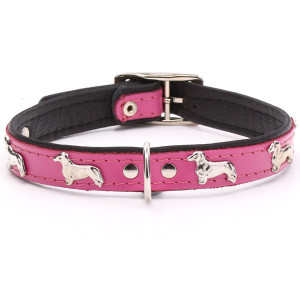 Pink Leather Dachshund Collar