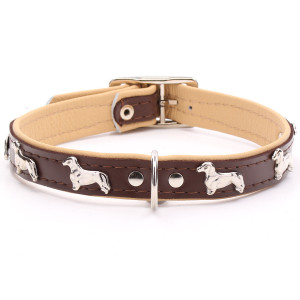 Brown Leather Dachshund Collar