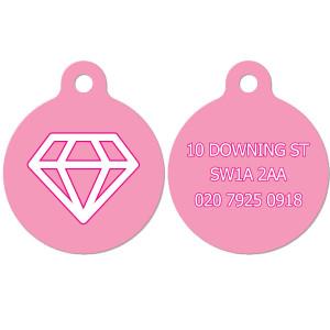 Pink Dog Tag with Diamond