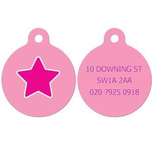 Pink Star Dog Tag