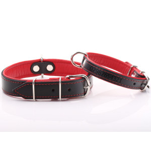 Black & Red Leather Dog Collar