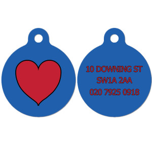 Blue Dog Tag with Heart