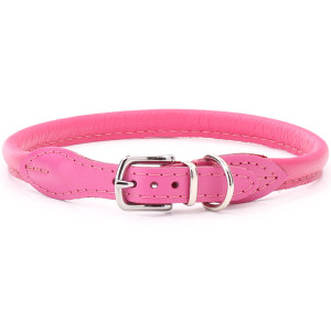 Pink Rolled Leather Dog Collar