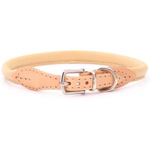 Beige Platte Lederen Halsband