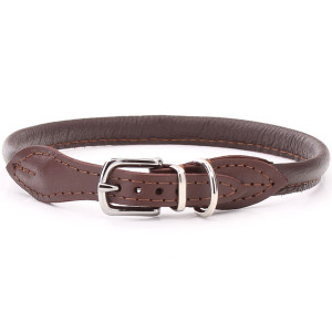 Brown Rolled Leather Dog...