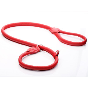 Red Rolled Leather Slip Lead