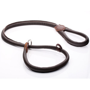 Brown Rolled Leather Slip Lead