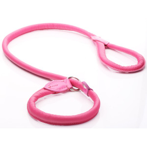 Pink Rolled Leather Slip Lead