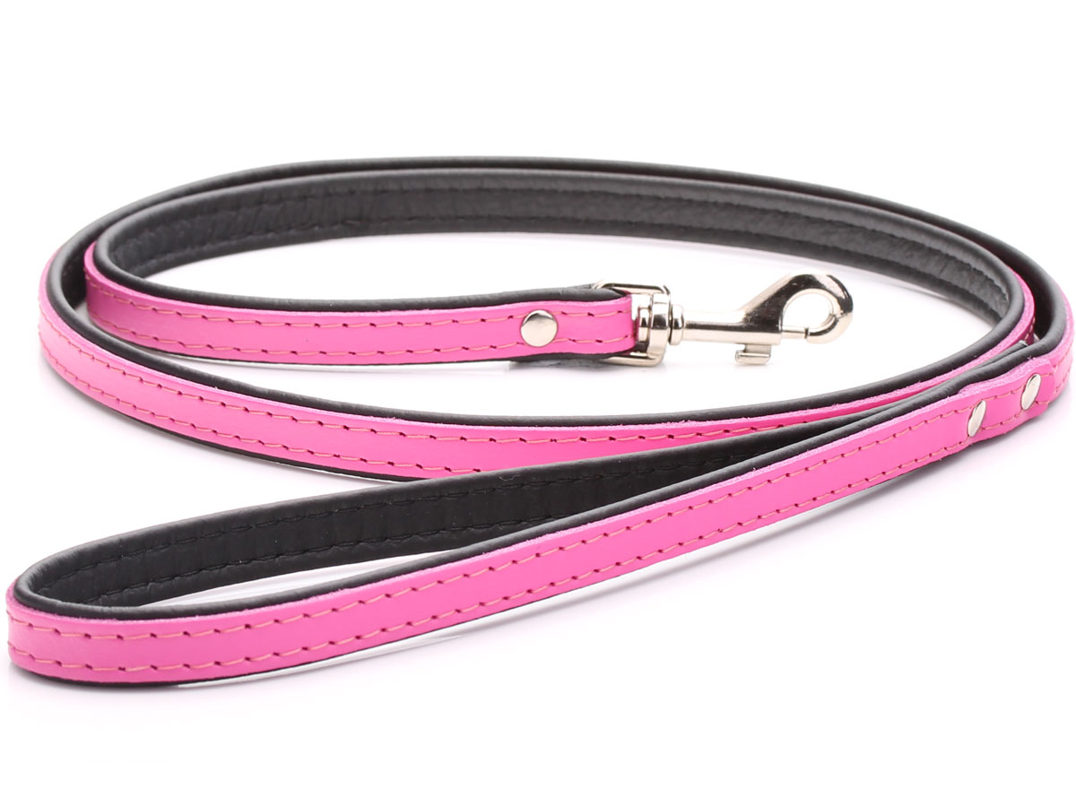Pink Personalised Leather Dog Lead