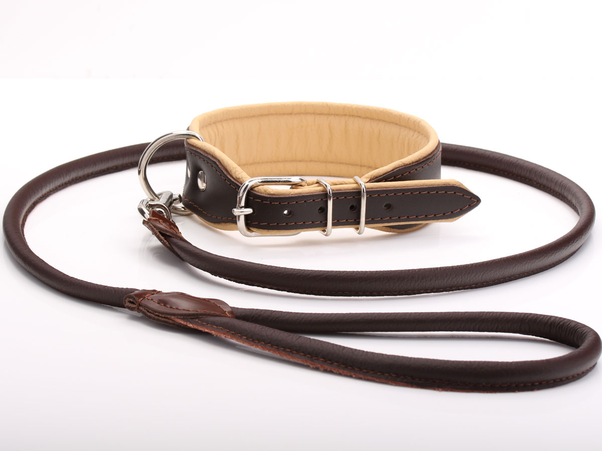 Thick Brown Amp Beige Leather Dog Collar Amp Lead Set