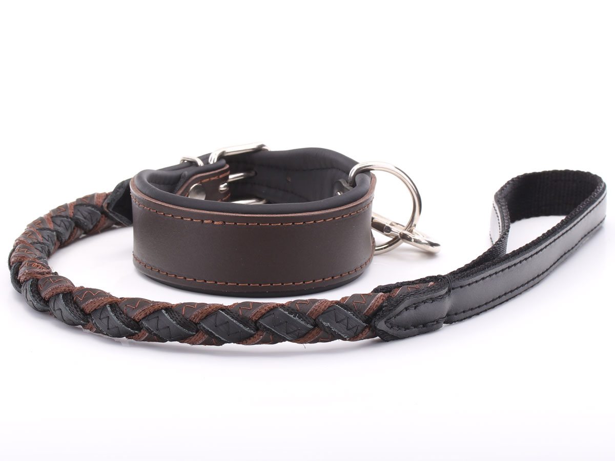 Thick Brown Leather Dog Collar Amp Plaited Lead Set